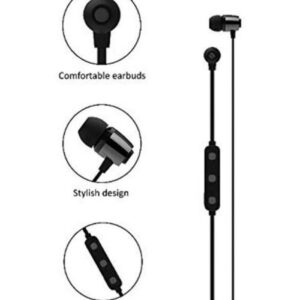 Syska Wireless Rechargeble Bluetooth Earphone Syska H-15 Headset with Magnet System with inbuilt mic for Android (Black)